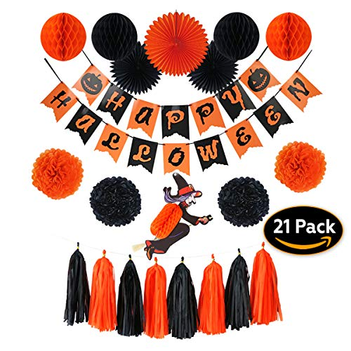 Happy Halloween Party Decorations Indoor & Outdoors|21 Pieces Includes: Witch, Banner, Paper Fan, Tissue Pom Pom, Hanging Honeycomb Ball & Tassel Garland | Orange and Black Set, Birthday Decor -
