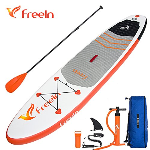 Freein Inflatable Stand Up Paddle Board 10'/11'(6' Thick) Universal Sup  with Double Layer Design, Nonslip Deck, Storage Bag, Manual Pump, Coil  Leash