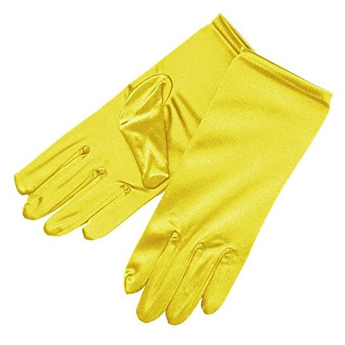 Miranda's Bridal Women's Wrist Length Formal Satin Gloves Yellow -