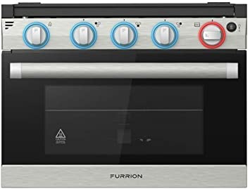 """Furrion 17"""" 2-in-1 Gas Range Oven (Stainless Steel) with 3-Burner Cooktop for RV"""