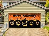 Outdoor Halloween Holiday Garage Door Banner Cover Mural Décoration - Happy Halloween Jack-O-Lanterns - Outdoor Halloween Holiday Garage Door Banner Décor Sign 7'x 16'