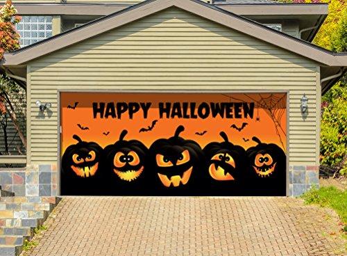 Victory Corps Outdoor Halloween Holiday Garage Door Banner Cover Mural Décoration - Happy Halloween Jack-O-Lanterns - Outdoor Halloween Holiday Garage Door Banner Décor Sign 7'x 16'