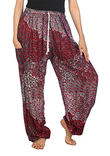 Lofbaz Women's Peacock Drawstring Harem Boho Pants Red B