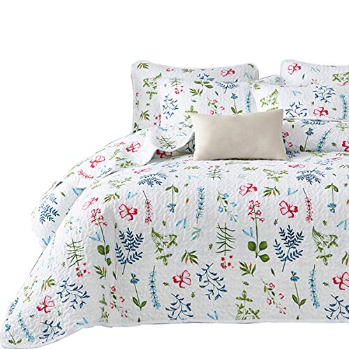 Uozzi Bedding 3 Piece Reversible White Quilt Set King Size with Blue Green Leaves and Red Flowers Soft Microfiber Lightweight Floral Coverlet Bedspread for All Season (Green Quilt Blue)