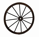 Cheap Zeckos Wood Wall Sculptures Wooden Wagon Wheel Decorative Wall Hanging 32 in. 32 X 32 X 1 Inches Brown