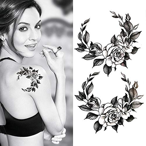 AZJTZ Negro Grande Flor Cuerpo Arte Impermeable Temporal Sexy ...