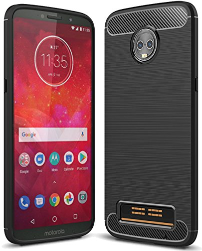 Moto Z3 Play Case, Sucnakp TPU Shock Absorption Technology Raised Bezels Protective Case Cover for Motorola Moto Z3 Play Smartphone (Black)