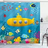 Ambesonne Yellow Submarine Shower Curtain, Coral Reef with Colorful Fish Ocean Life Marine Creatures Tropic Kid, Cloth Fabric Bathroom Decor Set with Hooks, 70' Long, Blue Yellow