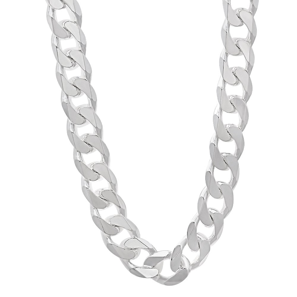925 Sterling Silver Nickel-Free 9.2mm Beveled Cuban Link Chain Necklace, 18'' + Cleaning Cloth
