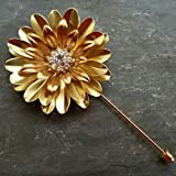 Handcrafted Brass and Rhinestone Metal Flower Lapel Pin