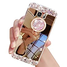 Sunroyal Luxury Crystal Clear Soft Rubber Bumper Shiny Case Bling Glitter Rhinestone 3D Handmade Diamond Anti Scratch Mirror Makeup Case Cover with Ring for Samsung Galaxy S6 SM-G920F -Gold