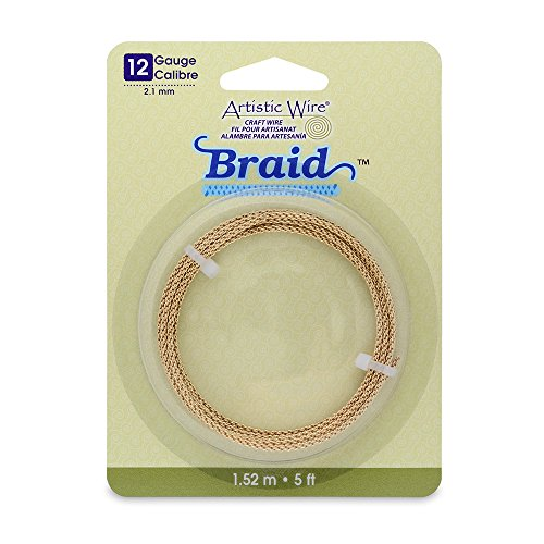 Artistic Wire 12-Gauge Tarnish Resistant Round Braided Jewelry Making Wire, 5-Feet, Brass (Twisted Wire Jewelry)