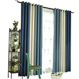 2018 New Mediterranean Mosaic Curtains Finished Simple Modern Bedroom Bay Window Living Room Full Shade Nordic Style (Size : 2 * 2.7m)