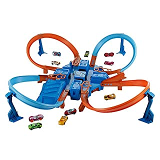 Hot Wheels Criss Cross Crash Motorized Track Set, 4 High Speed Crash Zones, 4-Way Booster, 4 Loops, Includes 1 DieCast Vehicle, Ages 4 to 10 Years Old