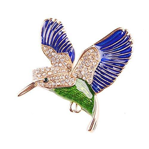 (Rhinestone Bird Animal Enamel Brooch Alloy Lapel Pin Women Fashion Jewelry Gifts | color - Blue)