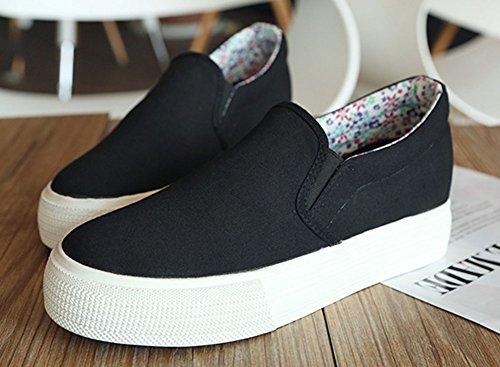 Zapatillas Sfnld Para Mujer De Altura Creciente Slip On Canvas Sneaker Black