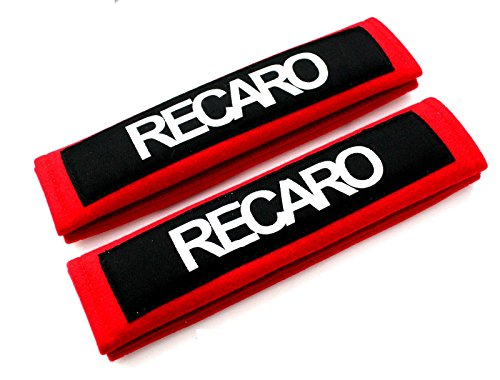 - NEW Red Seat Belt Cover Shoulder Pads Pairs with Embroidery RECARO Racing Logo