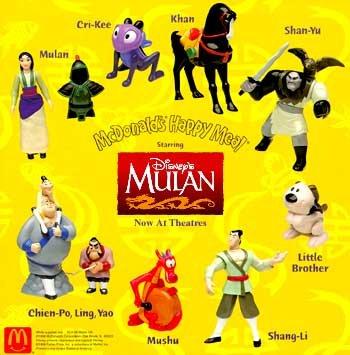 1998 Toy - 1998 - Mulan McDonald's Happy Meal Figurines - 8 piece set