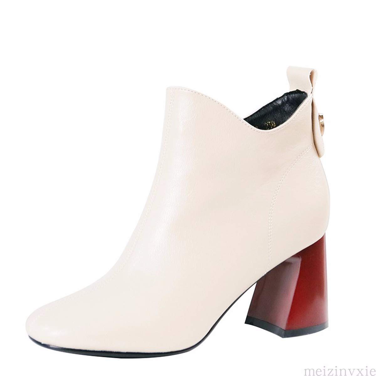 KPHY Damenschuhe/Farbabstimmung Kurze Stiefel Mit Hohen 8Cm, Mode, Wild, Runden Kopf, Seite Reißverschluss, Harte Sohle, Ma Dingxue.