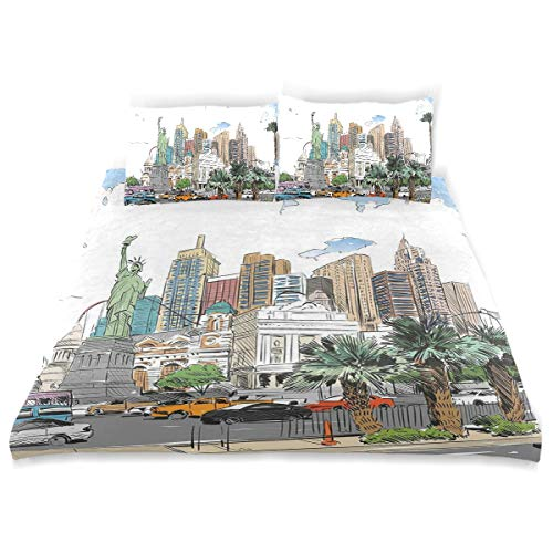 - YCHY Decor Duvet Cover Set, Hand Drawn Las Vegas City Nevada Street Sketch Buildings Statue of Liberty Cars Palms A Decorative 3 Pcs Bedding Set with Pillowcases, King