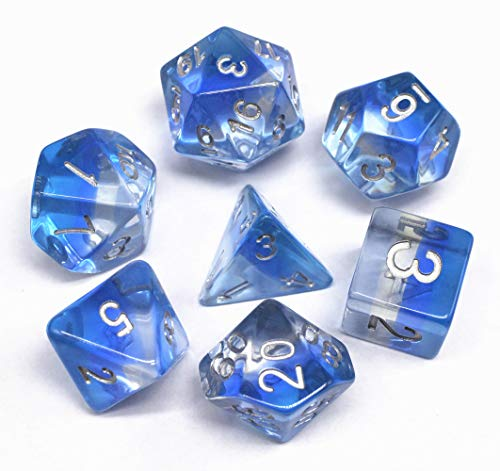 HD Polyhedral DND Dice Set RPG Blue Dice Fit Dungeons and Dragons(D&D) Pathfinder MTG Role Playing Games Tabletop Math Games Transparent Aurora Dice 7-Die Dice Set