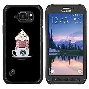 Café divertida del monstruo Pequeño- Metal de aluminio y de plástico duro Caja del teléfono - Negro - Samsung Galaxy S6 active / SM-G890 (NOT S6)