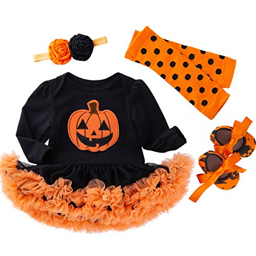 Baby Girl Halloween Costumes With Tutus (Newborn Baby Girl Halloween Long Sleeve Funny Pumpkin Tutu Lace Skirt Set (Black-02,3-6)
