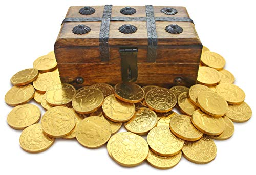 "Price comparison product image Well Pack Box Wooden Pirate Treasure Chest Strongbox 7.5 x 4"" x 3.5"" Including 50 Belgian Milk Chocolate Gold Coins"