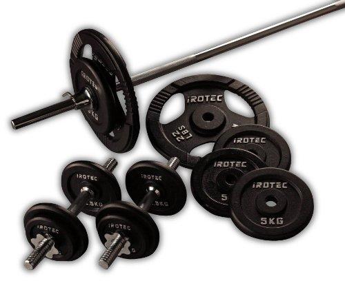 IROTEC (アイロテック) アイアン バーベル ダンベル 70KGセット/ベンチプレス 筋トレ トレーニング器具 筋力トレーニング B07JX7PTV4   長さ160cm