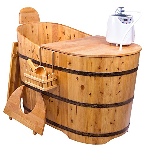 "g Cedar Wood Bath Tub 46"" - Cedar Wooden Seat w/Free Hanging Basket and Scoop - Steam Generator Included - Transforms from bathtub into a sauna ()"
