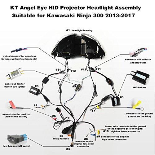 51m1hKe3HmL amazon com kt led angel eye headlight assembly for kawasaki ninja Basic Headlight Wiring Diagram at reclaimingppi.co