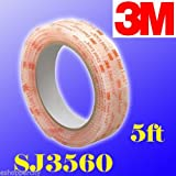 3m 1'' W X 5' Dual Lock SJ3560 Clear Type 250 VHB Reclosable Fastener Indoor /Outdoor Use Mounting Adhesive Tape / Hook and Loop E-zpass Window Mounting DualLock (5)