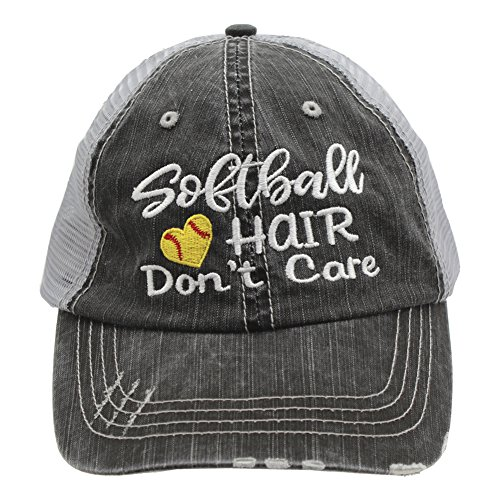 Softball Hair Don't Care Love Heart Women Embroidered Trucker Style Cap Hat (Embroidered Softball Cap)