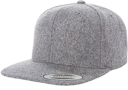 Flexfit / Yupoong 6689M Melton Wool Snapback Hat Wholesale (Heather Grey) - Snapback Wool