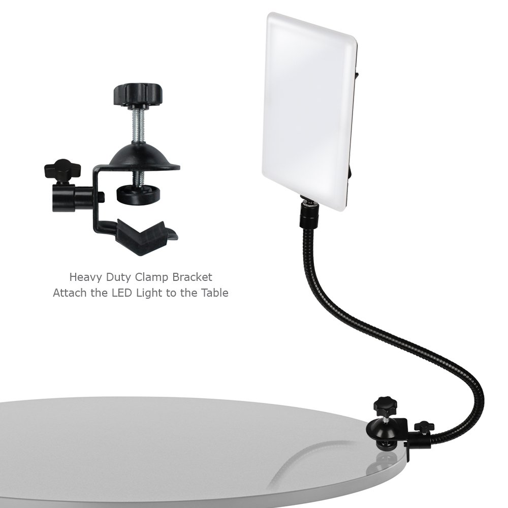 LimoStudio LED Light Panel with Gooseneck Extension Bar Adapter and Mini Table Top Lighting Stand, Photo Studio, AGG2208 by LimoStudio (Image #4)
