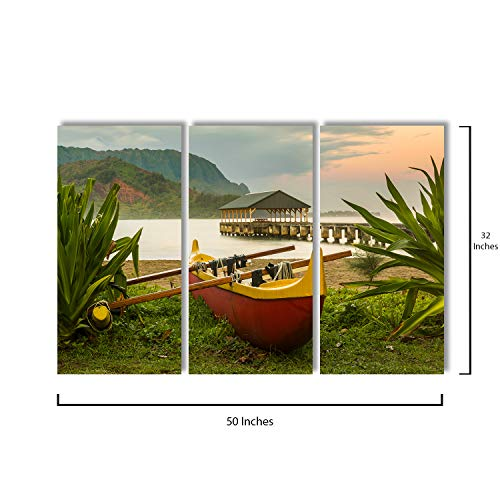 3 Piece Canvas Wall Art - Red and Yellow Hawaiian Canoe with Outrigger On The Beach - Modern Home Decor Stretched and Framed Ready to Hang - 16