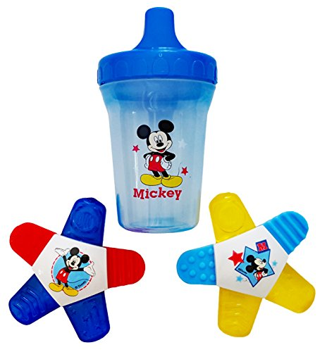 Mickey Mouse Water-Filled Teether (2 Pack), 1 Mickey Mouse Spill-Proof Cup. Plus Free Bonus 1 Pack of Disposable Baby Bib. (Infant Water Teether Filled)