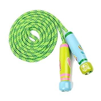 OFKPO Kinder Springseil,Verstellbare Seilspringen mit Cartoon Holzgriff f/ür Fitness Training,Spiel,Fett Brennen Gr/ün