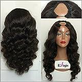 Virginhairfactory 7a Grade Body Wavy Brazilian Human Hair Wigs U Part Wig 130 Density 10 inch Natural Black Color