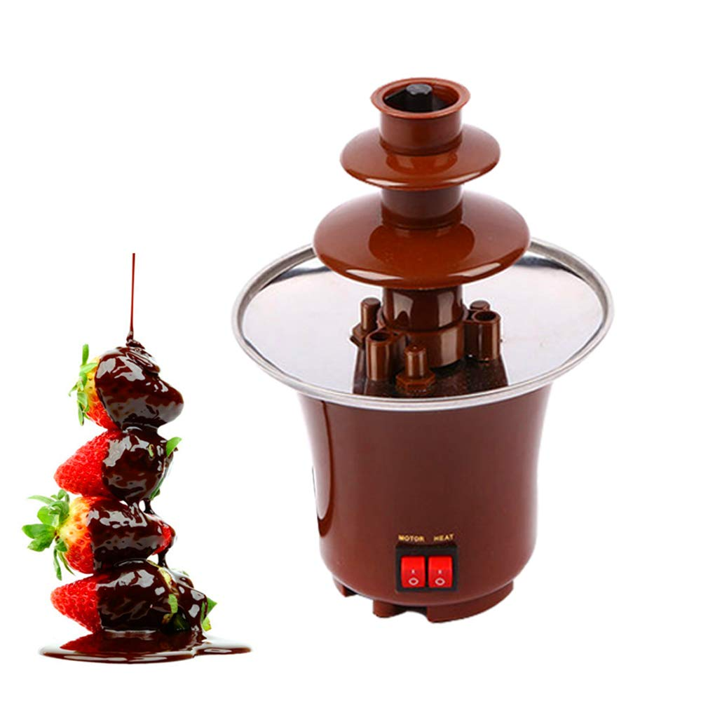 Mini Chocolate Fountain, 110V Party Electric Chocolate Heated with 3 Tiers for Home Wedding Birthday Party 5.7x8.7in