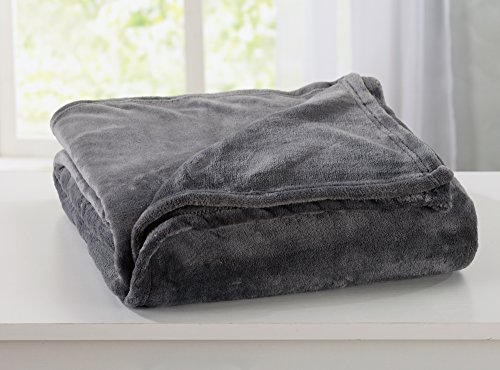 Home Fashion Designs Ultra Velvet Plush Fleece All-Season Super Soft Luxury Bed Blanket. Lightweight and Warm for Ultimate Comfort. By Brand. (Twin, Steel Grey) - Comfort Luxury Plush