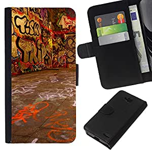 All Phone Most Case / Oferta Especial Cáscara Funda de cuero Monedero Cubierta de proteccion Caso / Wallet Case for LG OPTIMUS L90 // Grafiti Street Art Wall Neon Drawing Letters