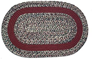 product image for Oval Braided Rug (2'x3'): Oatmeal Tweed - Burgurandy Band