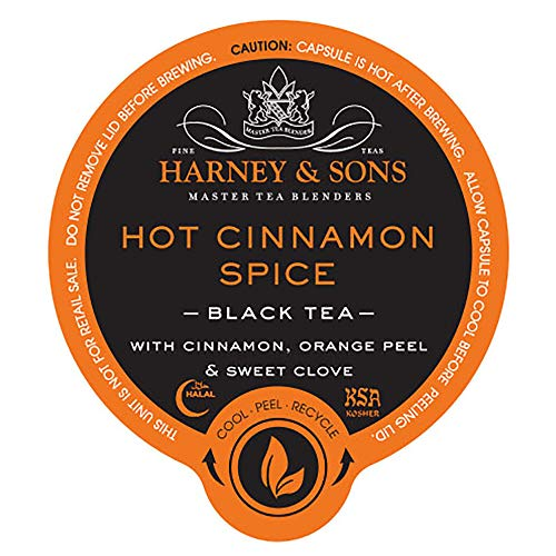 Harney and Sons Hot Cinnamon Spice Tea Capsules, 24 Count (Black Tea Spice Orange Flavored)