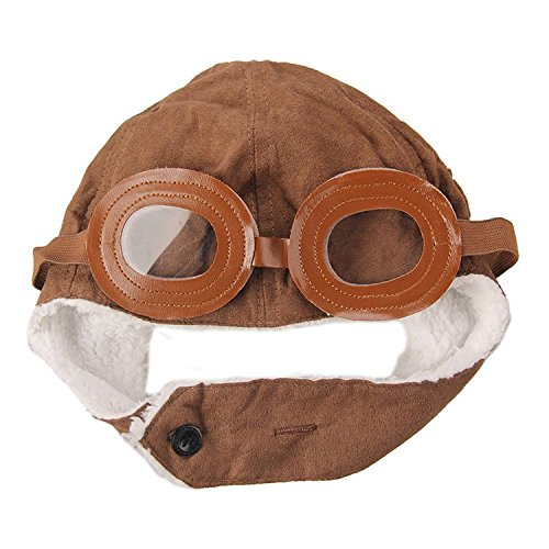 Topluck NEW High Quality Cool Pilot Aviator Fleece Hat Cap with Earmuffs with a Stylus, Super Cool Baby Infant Kid Soft Warmer Winter Hat/ Pilot Aviator Cap/Fleece Warmer Earflap Beanie , Kid's Halloween Costume Accessory, Great Gift For Your Child (Brown)