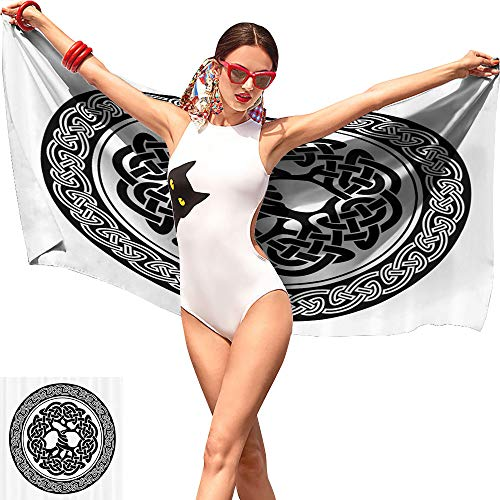 Gabriesl Celtic Decor Toddler Beach Towel,Native Celtic Tree of Life Figure Ireland Early Renaissance Artsy Medallion Design Black White,Lightweight Beach Towel W12 x L35 ()