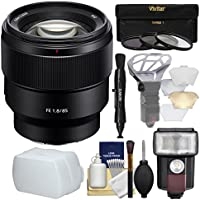 Sony Alpha E-Mount FE 85mm f/1.8 Lens with Flash + 3 Filters + Diffusers + Kit