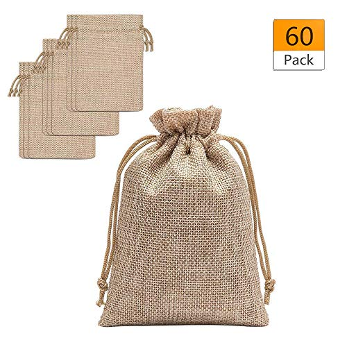 60 Pieces Burlap Bags with Drawstring - 5.3x3.8