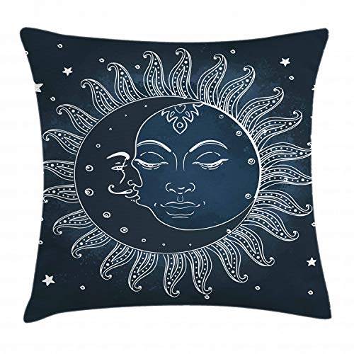 Ambesonne Sun and Moon Throw Pillow Cushion Cover by, Celestial Theme Sun with Crescent Moon Midnight Art, Decorative Square Accent Pillow Case, 18 X 18 Inches, Dark Blue Slate Blue White