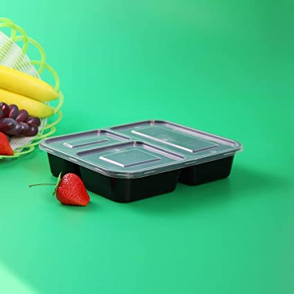 Seller&Shipper Plastic 3 Compartment Bento Stack-able, Reusable,  Microwavable, Freezer, Leak Resistance, Light Weight, Airtight Lids, Eco  Friendly,